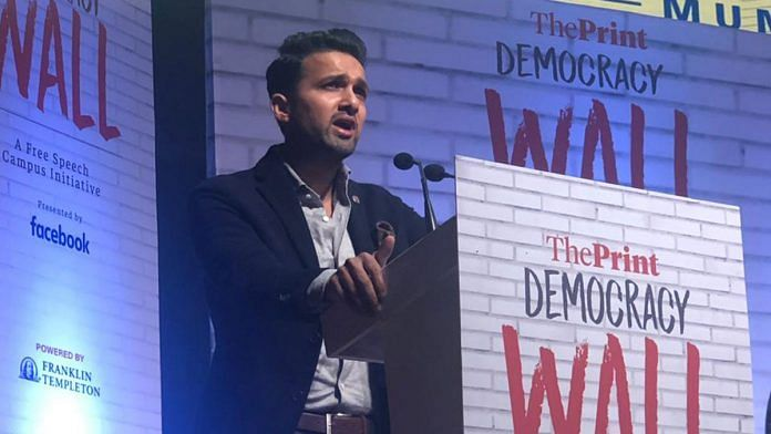 Yatin Shah, Co-Founder of IIFL Investment Managers, speaks at Democracy Wall in Mumbai Friday | Sharwari Shetye | ThePrint