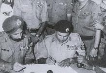 Pakistan Army signing the Instrument of Surrender in Dhaka in 1971