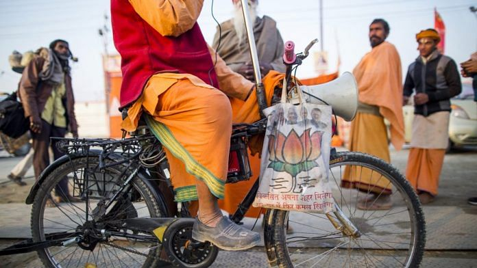 Representational image | A man making political speeches during the Kumbh Mela in Prayagraj, Uttar Pradesh | Photo: Prashanth Vishwanathan | Bloomberg