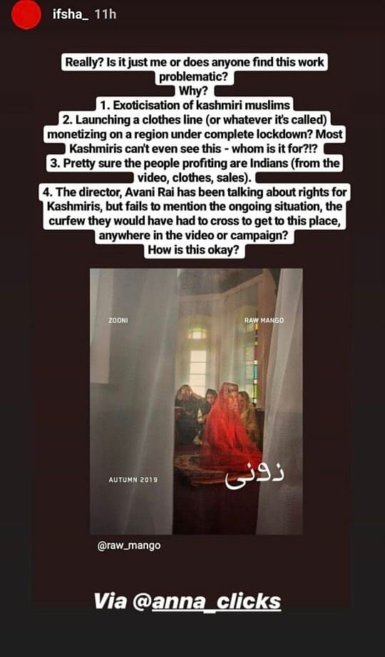Screenshots of the story posted by Raw Mango on Instagram