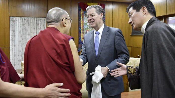 US diplomat Sam Brownback meets the Dalai Lama