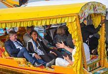 Members of European Union Parliamentary delegation during a shikara ride at Dal Lake in Srinagar, Tuesday