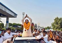 Haryana Lokhit Party leader Gopal Kanda during a roadshow after his victory in Assembly elections, in Sirsa district