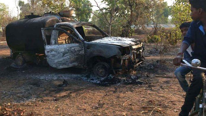 Maoists set ablaze 27 vehicles and Construction Machines at a road construction site in Kurkheda, Gadchiroli, Maharshtra   ANI