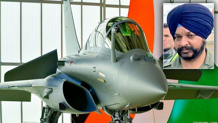 Group Captain Harkirat Singh (inset) will be the first commanding officer of the new Rafale squadron | Background photo: Twitter | Indian Air Force (@IAF_MCC) | Inset photo: Twitter | @rajnathsingh