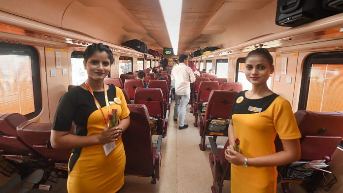 File image of crew members on the Lucknow-New Delhi Tejas Express, India's first privately-operated train | Photo: PTI