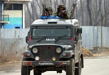 An army armored vehicle at Pulwama district in south Kashmir on 18 February