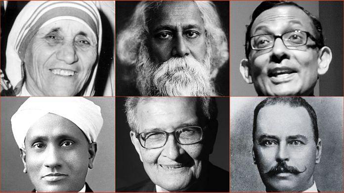 (L-R from top): Mother Teresa, Rabindranath Tagore, Abhijit Banerjee, Amartya Sen, Ronald Ross | ThePrint