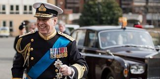 Prince Andrew, Duke of York arrives for a reception at the Honourable Artillery Company following the Afghanistan service of commemoration at St Paul's Cathedral | Getty image via Bloomberg