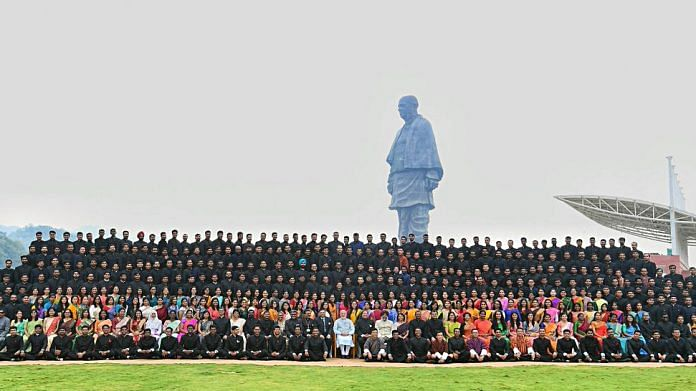PM Narendra Modi with IAS probationary officers, at the Statue of Unity in Kevadia, Gujarat on 31 October