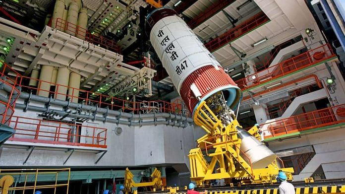 ISRO's scientists working for the launch at Satish Dhawan Space Centre in Sriharikota