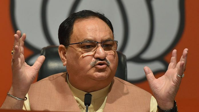 BJP working president Jagat Prakash Nadda addresses a press conference, at BJP headquarters in New Delhi on 10 Nov, 2019 | Photo: PTI