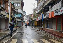 Representational image of a deserted market during the 2019 shutdown in Srinagar, Kashmir | Photo: PTI