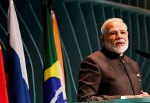 Prime Minister Narendra Modi addresses the BRICS Business Forum, on the sidelines of BRICS Summit, in Brasilia, Brazil