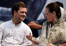 Former Congress president Rahul Gandhi with interim chief Sonia Gandhi