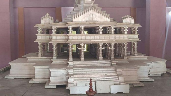 File image of the VHP's model of the proposed Ram temple in Ayodhya | Photo: Ananya Bhardwaj | ThePrint