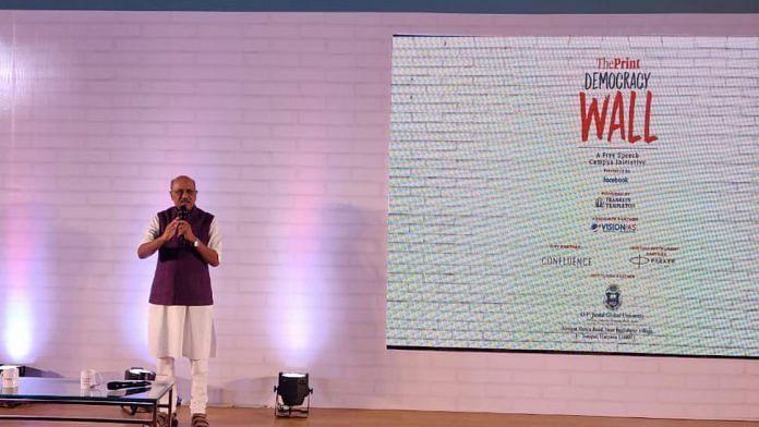 Editor-in-chief of ThePrint Shekhar Gupta at Democracy Wall event in Sonipat Monday | ThePrint