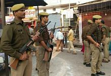 Police personnel on guard in Ayodhya ahead of the Supreme Court's verdict in the Ram Janambhoomi-Babri Masjid land dispute case, on 9 November 2019 | Prashant Srivastava | ThePrint