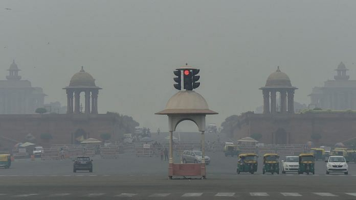 A view of Rajpath shrouded in smog in New Delhi   PTI