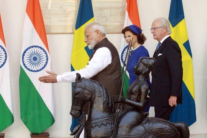 PM Narendra Modi with Queen Silvia, King Carl XVI Gustaf of Sweden at Rashtrapati Bhavan