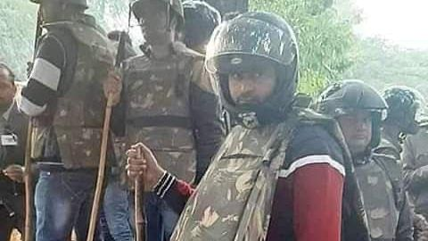 The Anti-Auto Theft Squad (AATS) constable who was standing alongside Delhi policemen during Jamia protests