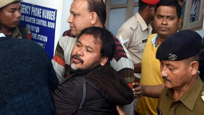 Akhil Gogoi being produced in an NIA court in Guwahati