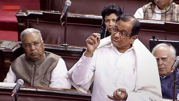 P Chidambaram speaks in the Rajya Sabha on 11 December | RSTV/PTI Photo