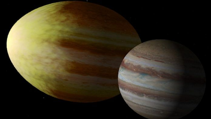 Artist's impression comparing Wasp-12b and Jupiter