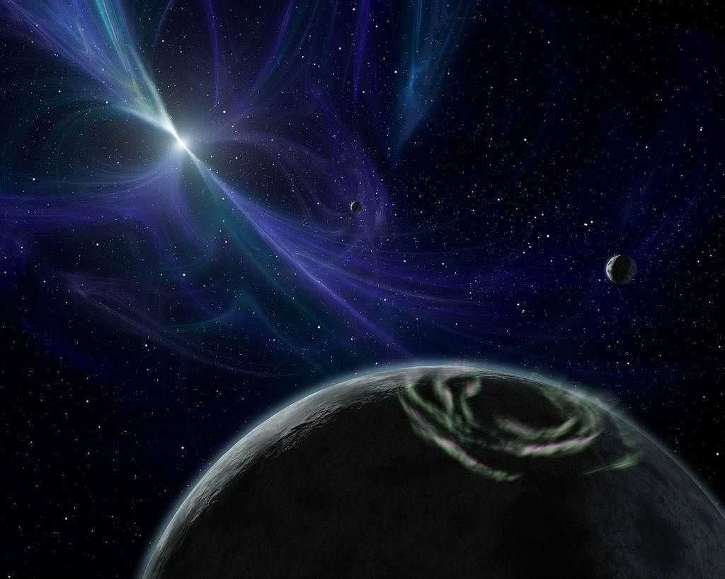 An artist's impression of the exoplanets around neutron star PSR B1257+12