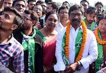 JMM chief Hemant Soren on his way to filing nomination papers from Dumka, Jharkhand, last month