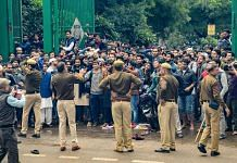 Students ofJamiaMillia Islamia University clash with the police during a protest against the Citizenship Amendment Bill on 13 December
