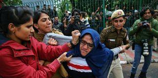 Protestors stopped at the Jamia Milia University gate | Photo: Suraj Singh Bisht