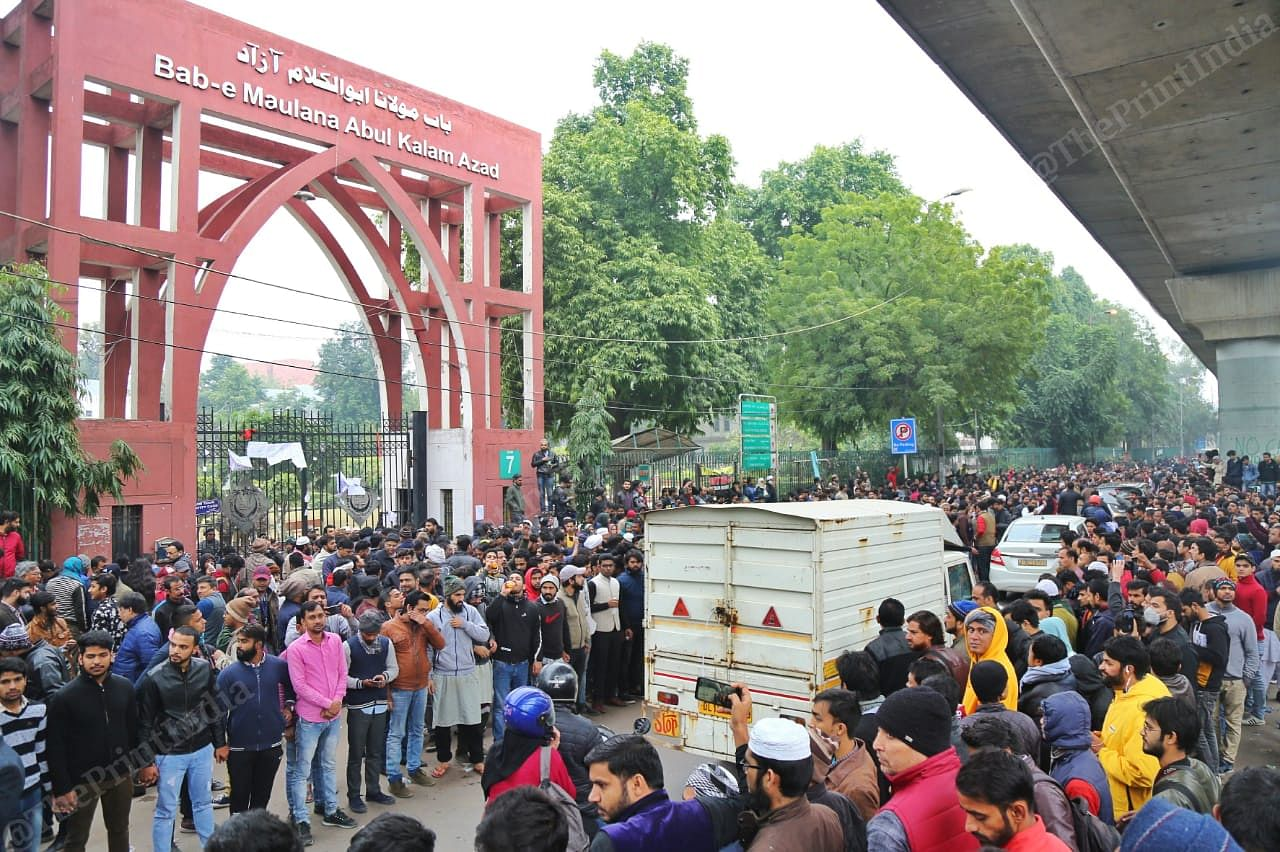 Protests outside Jamia Millia University on 16 December in New Delhi