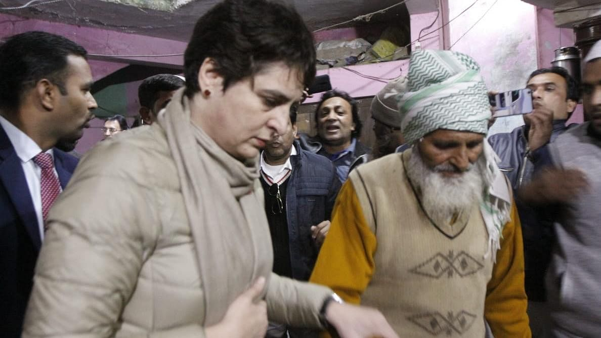 Congress leader Priyanka Gandhi meets father of Zahid Hussian Sulaman who died in the police firing on 22 December
