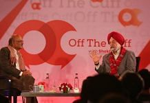 Union minister Hardeep Singh Puri (right) with ThePrint's Editor-in-Chief Shekhar Gupta at the Off The Cuff event |
