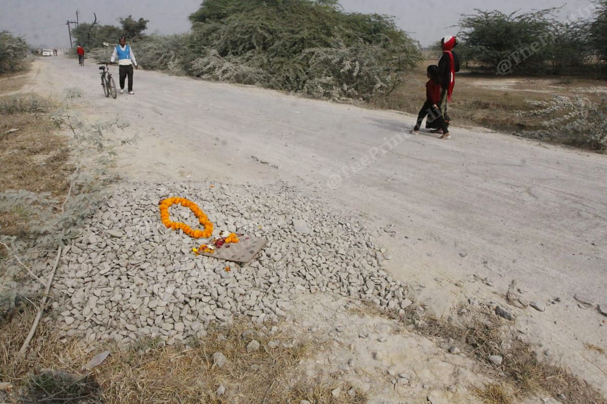 A makeshift memorial created at the spot where the 23-year-old was set on fire | Praveen Jain | ThePrint