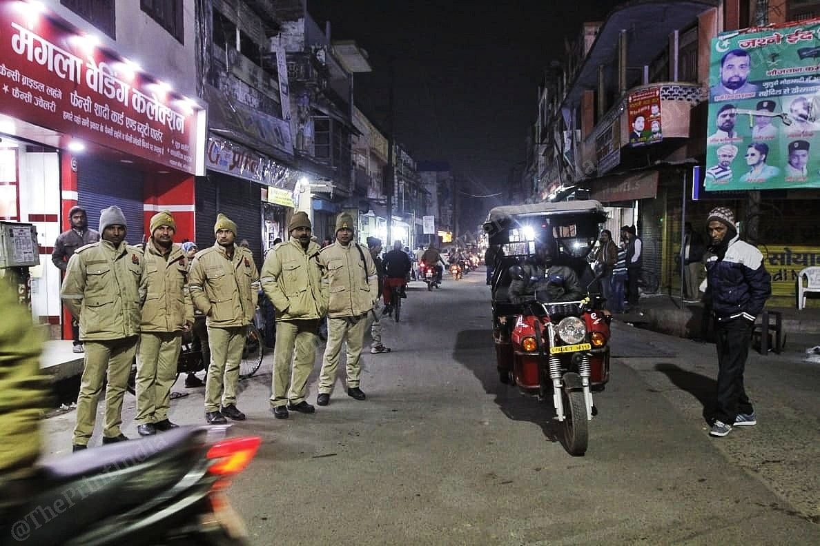 Police deployment at a chowk in Gorakhour
