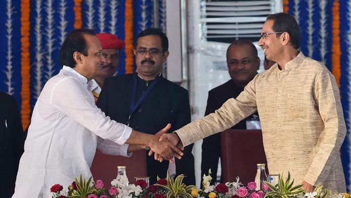 Maharashtra's new deputy CM Ajit Pawar with CM Uddhav Thackeray at Monday's swearing-in ceremony | Photo: Mitesh Bhuvad | PTI