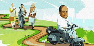PM Narendra Modi (L), Finance Minister Nirmala Sitharaman and Home Minister Amit Shah in the distance, and industrialist Rahul Bajaj driving away | Illustration by Arindam Mukherjee | ThePrint Team