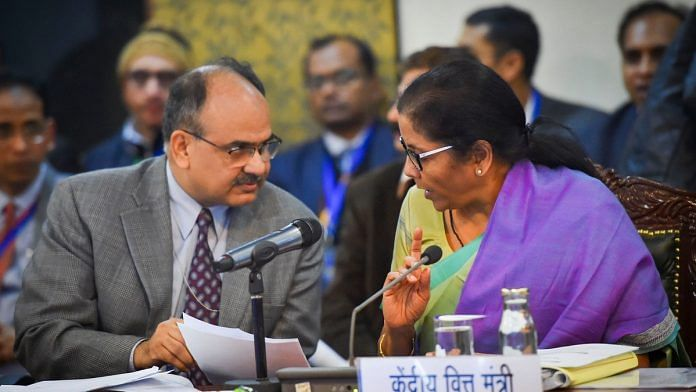 Union Finance Minister Nirmala Sitharaman and Revenue Secretary Ajay Bhushan at the 38th GST Council meeting   PTI