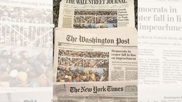 The front pages of Wall Street Journal, Washington Post, and New York Times covering the protests. | Twitter | @RanaAyyub