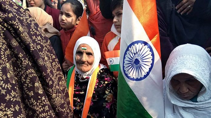 105-year-old woman Asma known as Dadi with mother of Rohit Vemula after hoisting the flag at Shaheen Bagh on 26 January 2020 (ANI Photo)