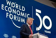 Donald Trump delivers a speech during a special address on the opening day of the World Economic Forum (WEF) in Davos on 21 January