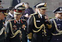 From left to right: Chief of Defence Staff Bipin Rawat, Army chief Manoj Mukund Naravane, Navy chief Karambir Singh and Air Marshal RKS Bhadauria | Photo: Praveen Jain | ThePrint