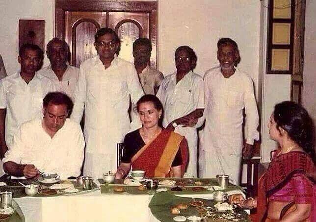Rajiv Gandhi and Sonia Gandhi enjoying a South Indian meal with P Chidambaram looking on, 1989 | karti.chidambaram/Facebook