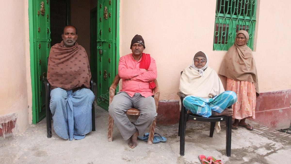 Prem Kumar (centre) with his friends at Bhakhra village in Pataliputra district of Bihar