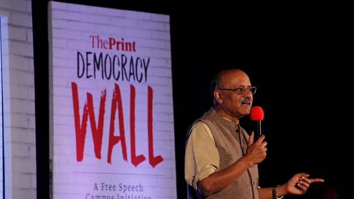 Shekhar Gupta, Editor-in-Chief, ThePrint, at the Democracy Wall in Pune Tuesday