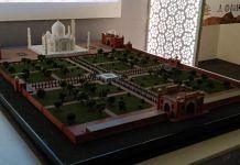 A 3D printed model of Taj Mahal at the exhibition in Delhi