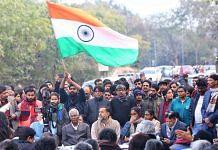 Yogendra Yadav with others at Jawaharlal Nehru University | Suraj Singh Bisht | ThePrint