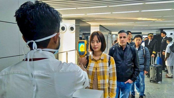 A thermal screeening device checks passengers arriving in India fromChina including Hong Kongin view of outbreak of Novel coronavirus (CoV) in China | PTI